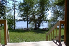 A relaxing view of Gull Lake from Cabin 2's porch